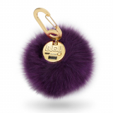 BuQu POWER POOF Universal 2500mAh Portable Power Bank - Plum Faux Fur Pom-Pom