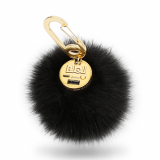 BuQu POWER POOF Universal 2500mAh Portable Power Bank - Black Faux Fur Pom-Pom