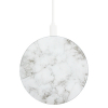 TekYa 10W Rapid Charge Certified Qi Wireless Charging Pad - White Marble/Aluminum