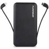 PureGear PureJuice 10,000mAh Rechargeable Battery Pack with Built-In Cables - Black