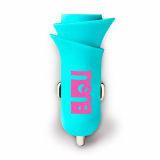 BuQu BLOOM2.4 Amp Single USB Car Charger Head - Turquoise Flower