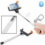 Monopod Selfie Stick With Wireless Bluetooth Remote - White
