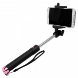 TekYa Selfie Stick with Bluetooth - Black with Hot Pink Trim