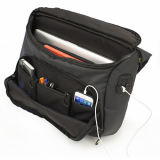 Universal M-Edge BOLT Messenger Bag with 4000mAh Portable Battery - Black