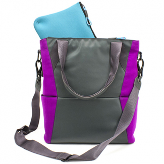 Universal M-Edge Tech Tote with 4000mAh Portable Battery - Gray with Purple