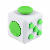 Universal Fidget Cube White with Lime Green Buttons