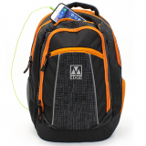 Universal M-Edge Commuter Backpack with 6000mAh Portable Battery - Black/Orange