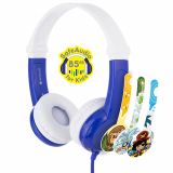 BuddyPhones Connect Handsfree Foldable Headphones with Mic and 3.5mm Jack - Blue
