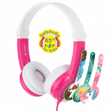 BuddyPhones Connect Handsfree Foldable Headphones with Mic and 3.5mm Jack - Pink