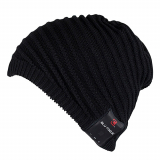 Caseco Bluetooth Beanie with Built-In Headphones - Boho Ribbed Slouchy Black