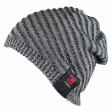 Caseco Bluetooth Beanie with Built-In Headphones - Boho Ribbed Slouchy Gray