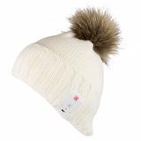 Caseco Bluetooth Beanie with Built-In Headphones - Ivory with Fur Pom