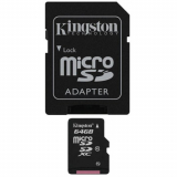 Kingston Class 10 Micro SD Memory Card With Adapter - 64GB