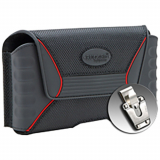 Rugged QX Horizontal Nylon/Rubber Pouch with Magnetic Closure & Steel Clip-Black/Red- XX-Large