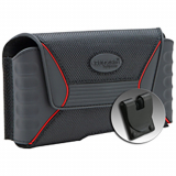 Rugged QX Horizontal Nylon/Rubber Pouch with Magnetic Closure & Plastic Clip-Black/Red- XX-Large